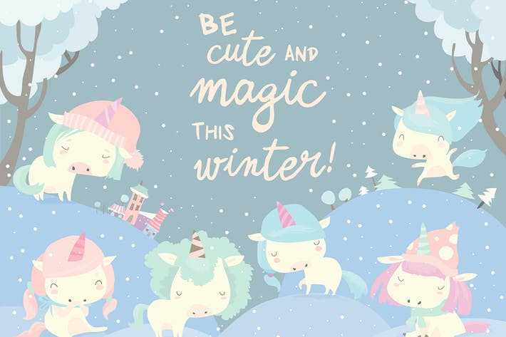 Thumbnail for Funny unicorns in snow forest. Vector illustration
