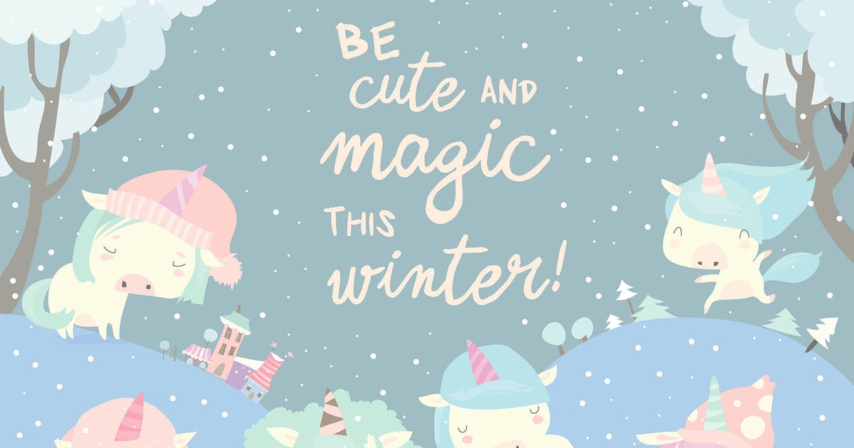 Download Funny unicorns in snow forest. Vector illustration by masastarus
