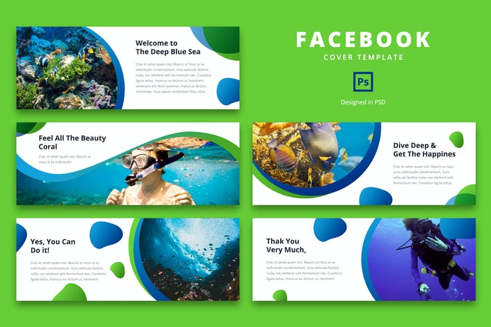 Thumbnail for Facebook Cover Template Scuba Diving