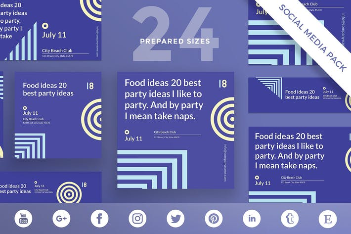 Thumbnail for Beach Party Social Media Pack Template