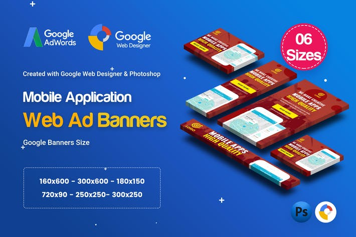 Thumbnail for C57 - Mobile App Banners HTML5 Ad - GWD & PSD