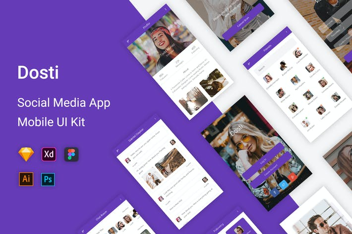 Thumbnail for Kit de interfaz de usuario de Aplicación móviles Dosti-Social Media