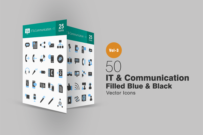 Thumbnail for 50 IT & Communication Blue & Black Icons