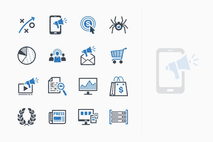 Thumbnail for SEO & Internet Marketing Icons Set 3 - Blue Series