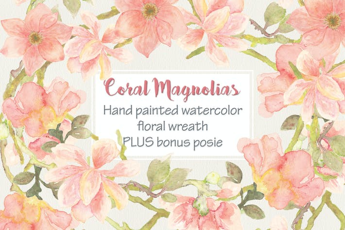 Thumbnail for Coral Magnolia Watercolor Wreath