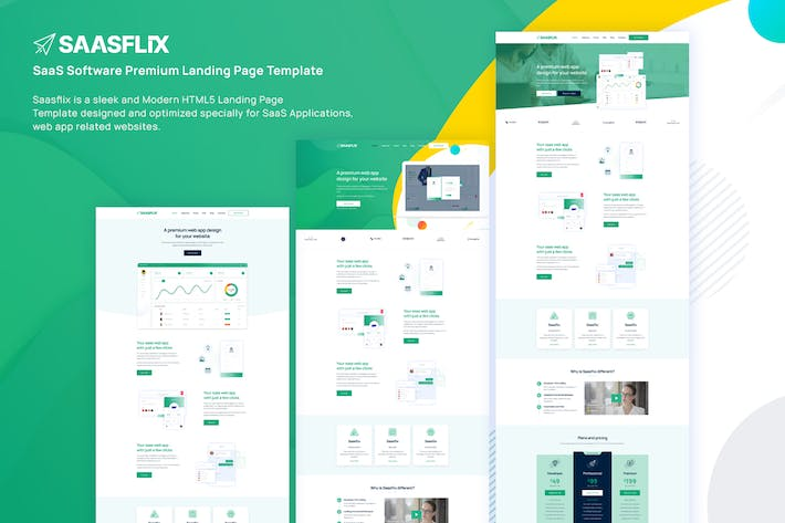 Thumbnail for Saasflix SaaS Software Landing Page Template
