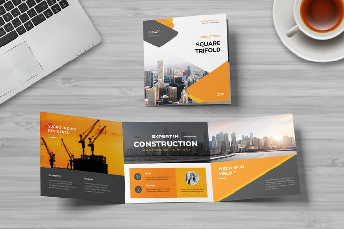 Thumbnail for Construction Square Trifold Brochure