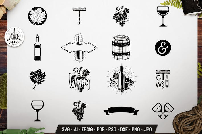 Thumbnail for Vintage Winery Wine Symbols Bundle Vector Graphics