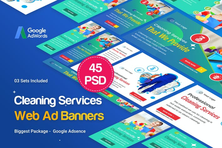 Thumbnail for Cleaning Services Banners Ad - 45PSD [03 Sets]
