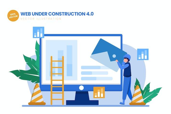 Thumbnail for Web Under Construction 04 Flat Vector Illustration