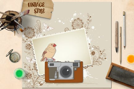 Vintage Background with Old Camera and Bird