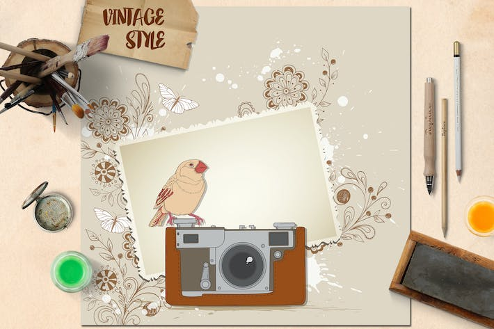 Thumbnail for Vintage Background with Old Camera and Bird