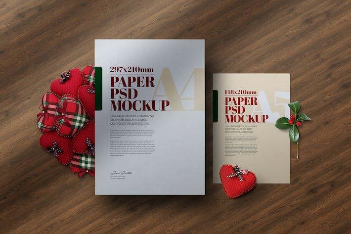 Thumbnail for Рождество A4 A5 Флаер Сцена Mockup