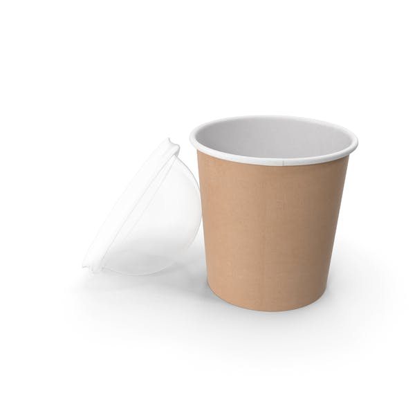 Thumbnail for Kraft Paper Food Cup with Clear Lid for Dessert 16 Oz 450 ml Open