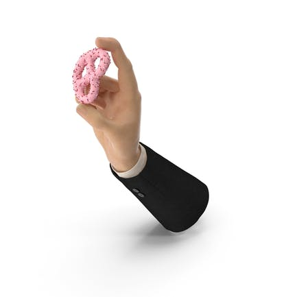 Suit Hand Holding Strawberry Yogurt Covered Pretzel