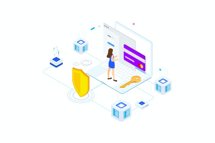 Thumbnail for Security on Blockchain Isometric 2 - FV