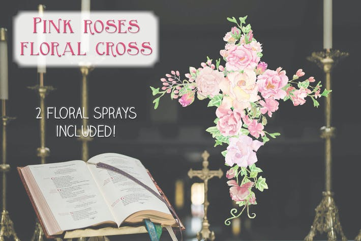 Thumbnail for Pink Roses Floral Cross