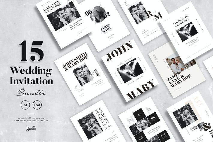 Thumbnail for 15 Wedding Invitation Bundle