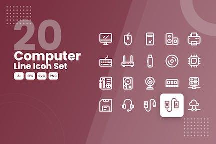 20 Computerzeilen-Icon-Set