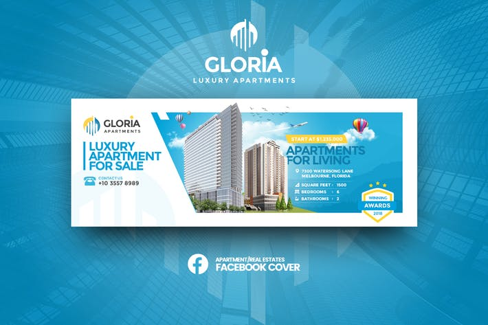 Thumbnail for Gloria - Apartmens Facebook Cover Template