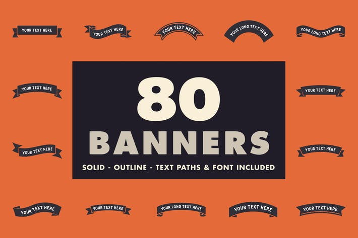 Thumbnail for 80 banners - Solid, outline & font included!