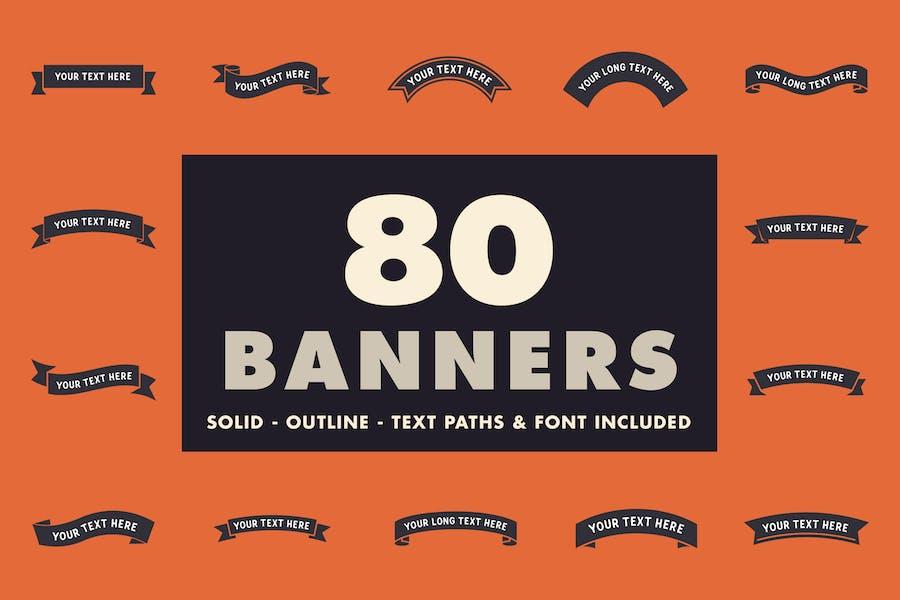 80 Banner - Solide, Kontur & Schrift enthalten!