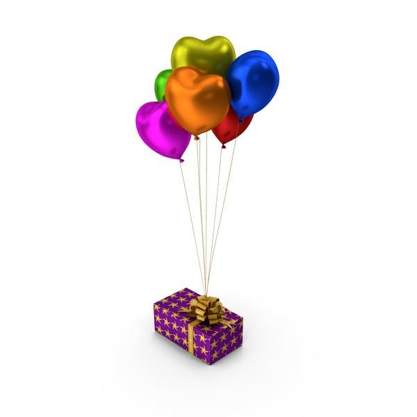 Gift box Multicoloured Heart Balloons