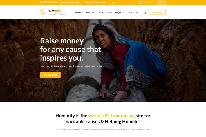 Thumbnail for Huminity - Charity & Fundraising PSD Template