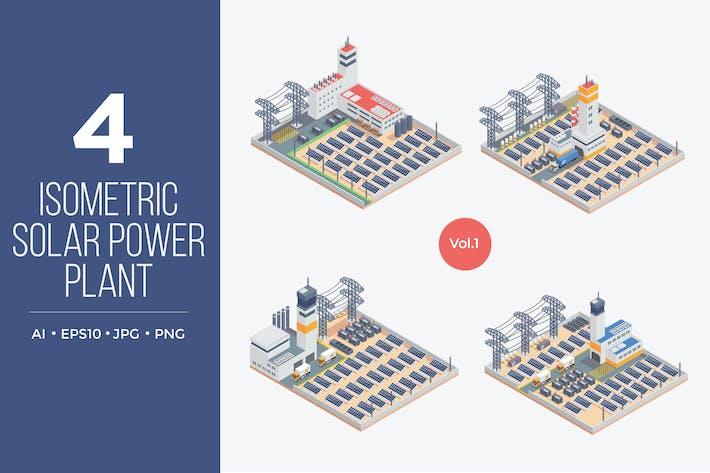 Thumbnail for Isometric Solar Power Plant Vector Set 1