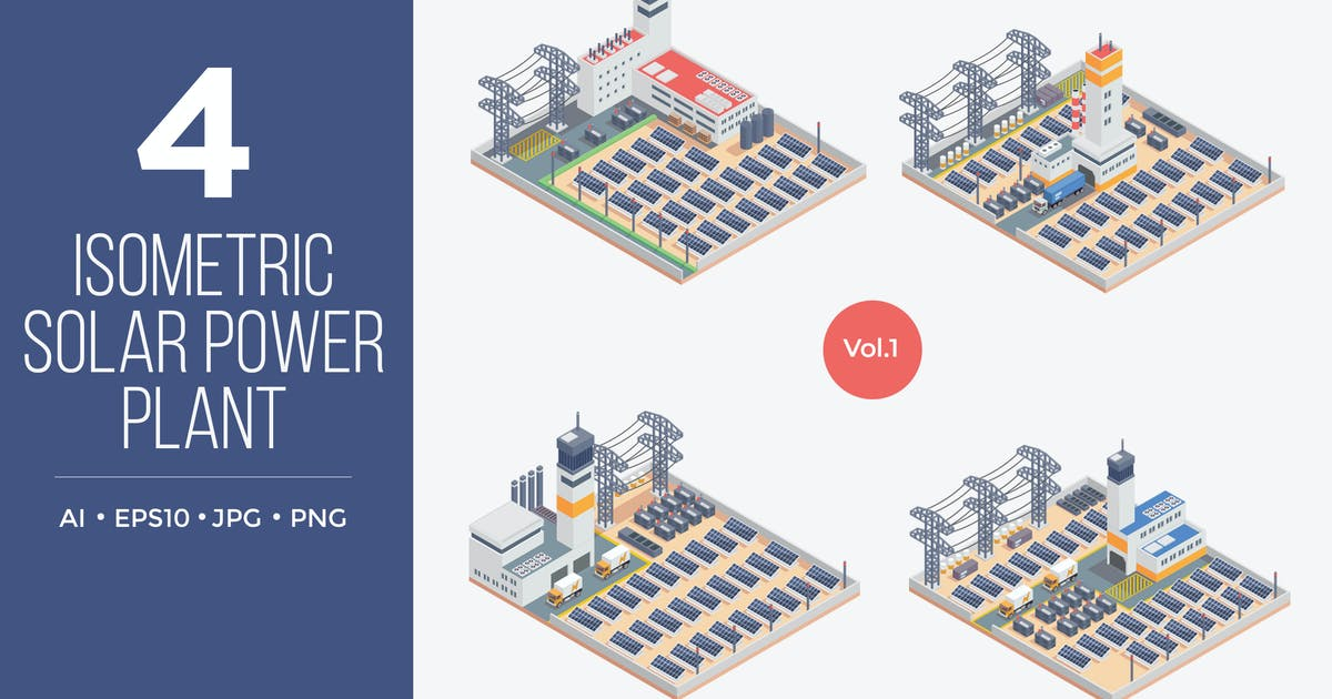 Download Isometric Solar Power Plant Vector Set 1 by naulicrea