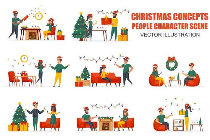 Thumbnail for Clock Chiming Christmas People Character Scenes