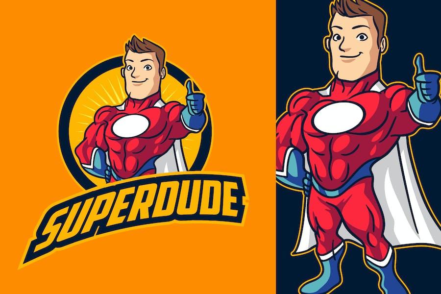 Cartoon Retro Strong Muscular Superhero Logo