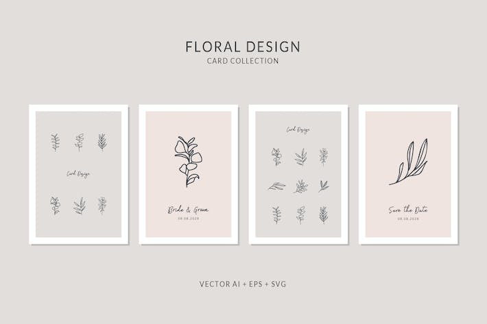 Thumbnail for Floral Card Vector Set
