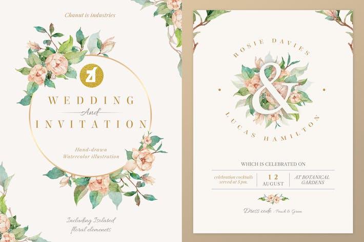 Old rose Watercolor Wedding Invitation