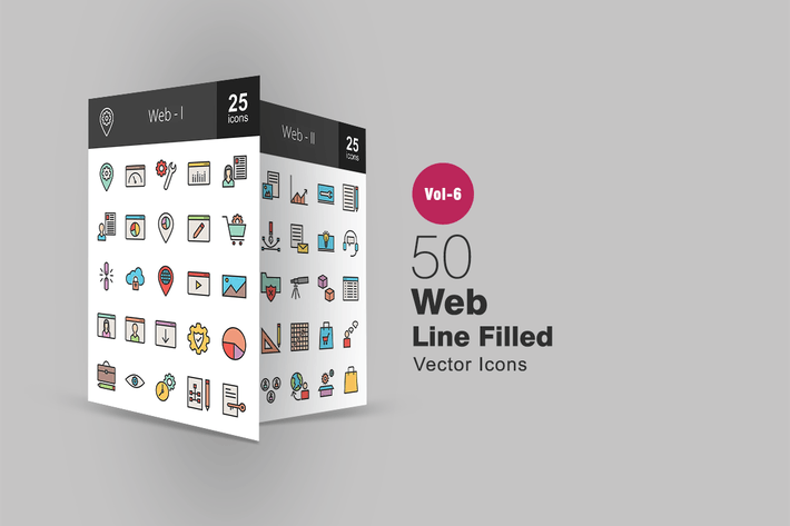 Thumbnail for 50 Web Filled Line Icons