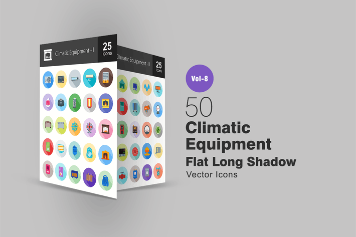 50 Climatic Equipment Flat Shadowed Icons