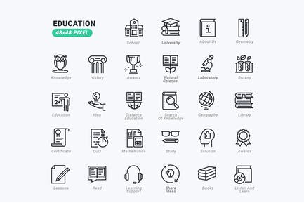 Conjunto de Íconos de línea delgada de educación