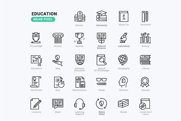Thin Line Icons Set of Education