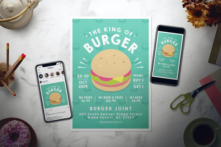 Thumbnail for Burger Flyer Set