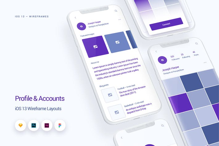 Thumbnail for Profile & Accounts - iOS 13 Wireframe Kit