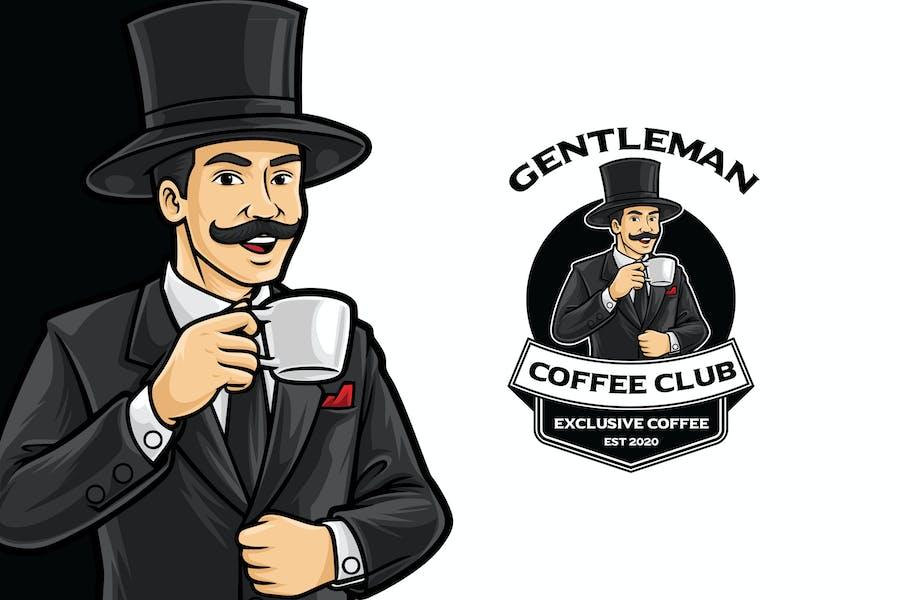 Gentleman Coffee Logo Mascot Template