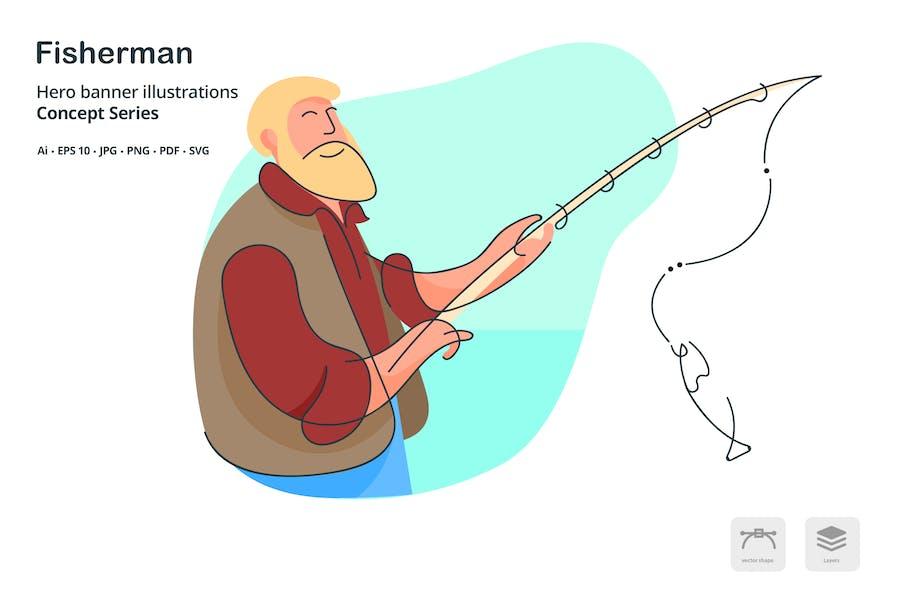 Fisherman Occupation Vector Illustration