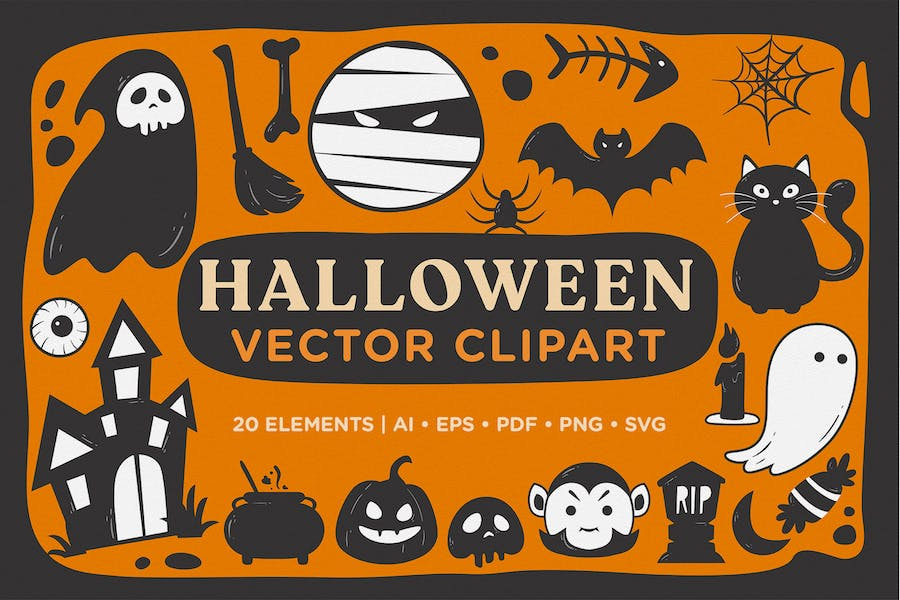 Halloween Scary Doodle Vector Clipart Pack