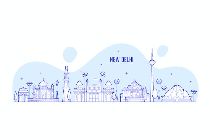 Thumbnail for New Delhi skyline, India