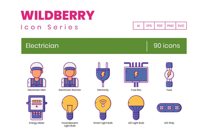 Thumbnail for 90 Electrician Icons | Wildberry Series