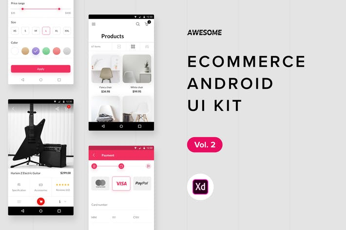 Thumbnail for Android UI Kit - Ecommerce Vol. 2 (Adobe XD)
