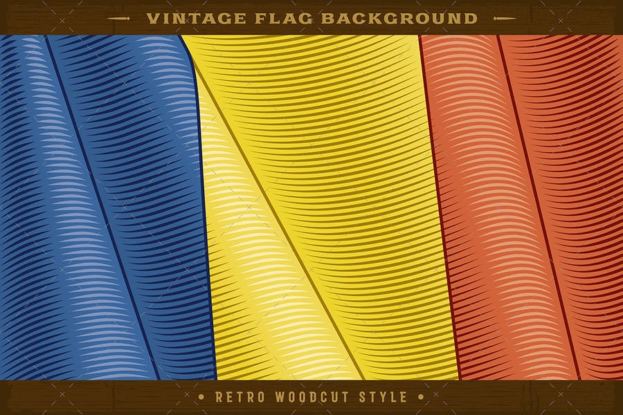 Vintage Flag Of Romania. Close-up Background
