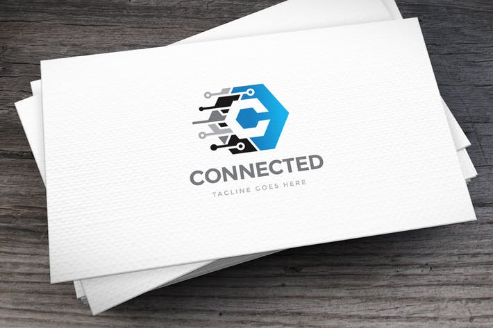 Cover Image For Connected Letter C Logo Template