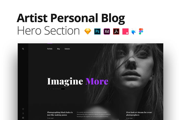 Thumbnail for Artist Personal Blog – Multi-Format Hero Section