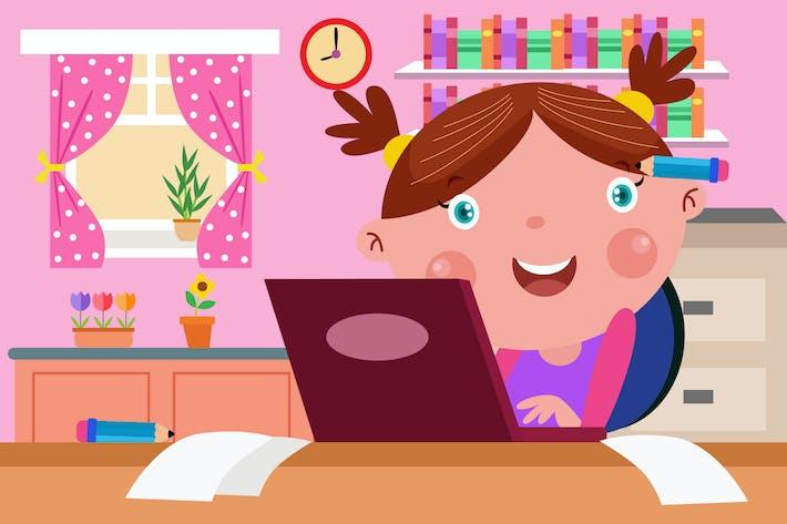 Thumbnail for Little Writer - Vector Kids Illustration